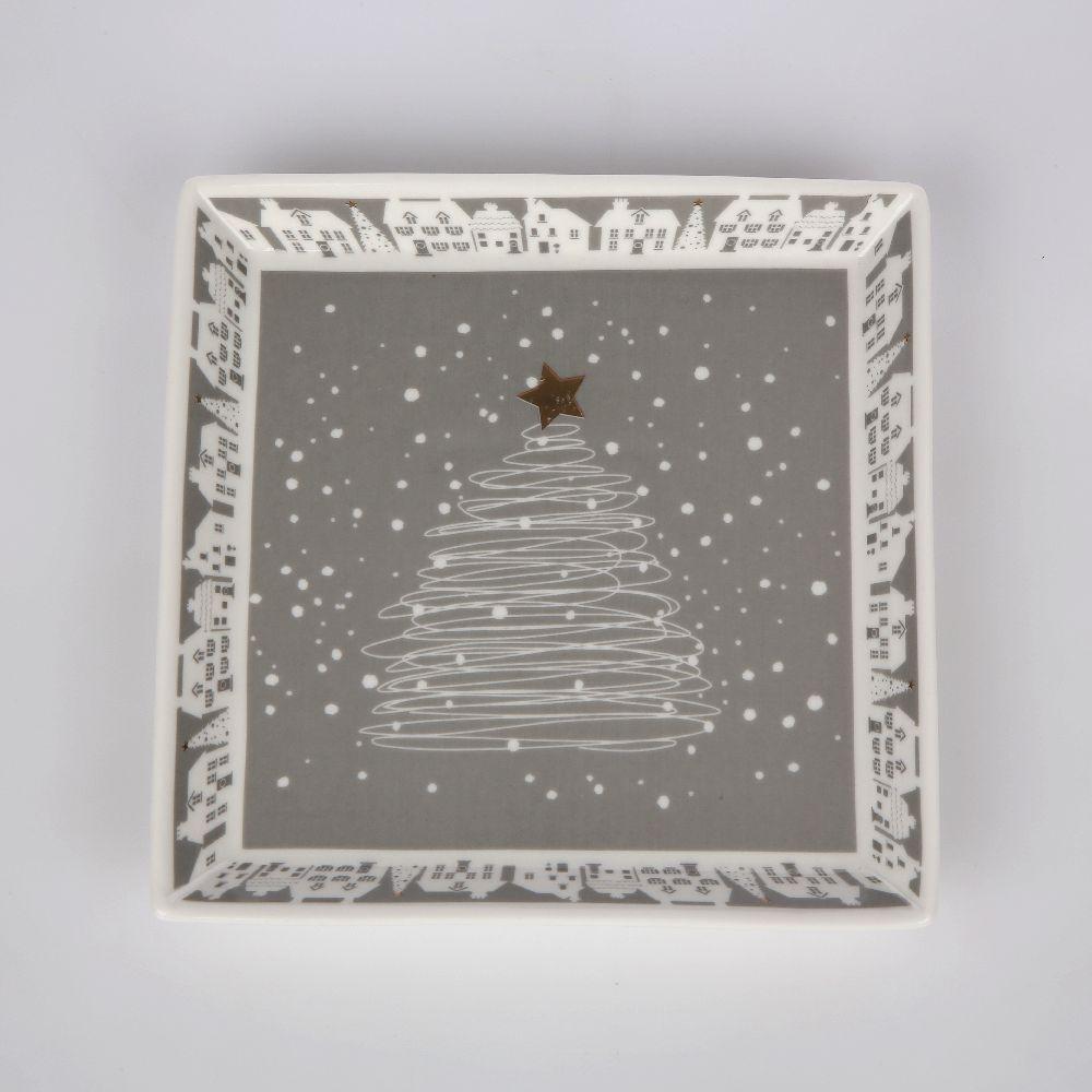 Talerz deserowy kwadratowy porcelanowy świąteczny Altom Design Skandynawia 10 cm