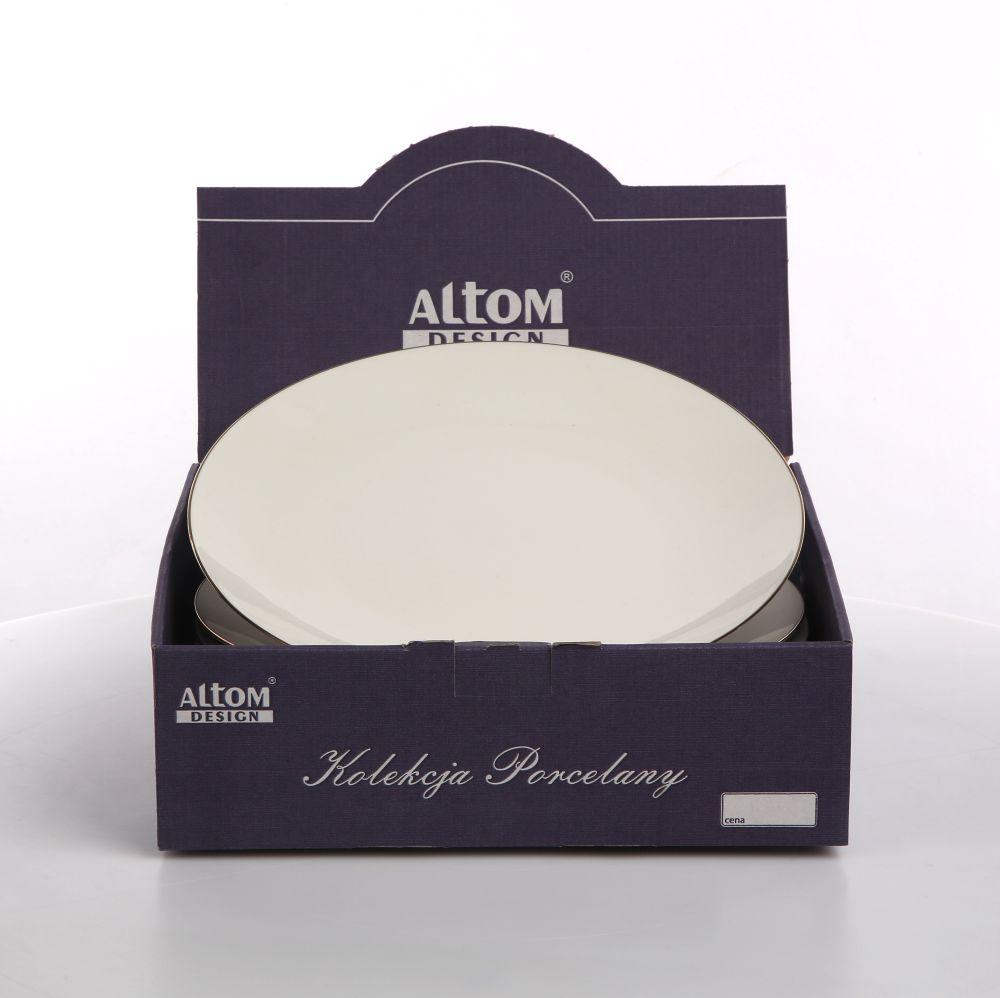 Talerz obiadowy płytki Altom Design Bella Złota Linia kremowa 26 cm Kartonik