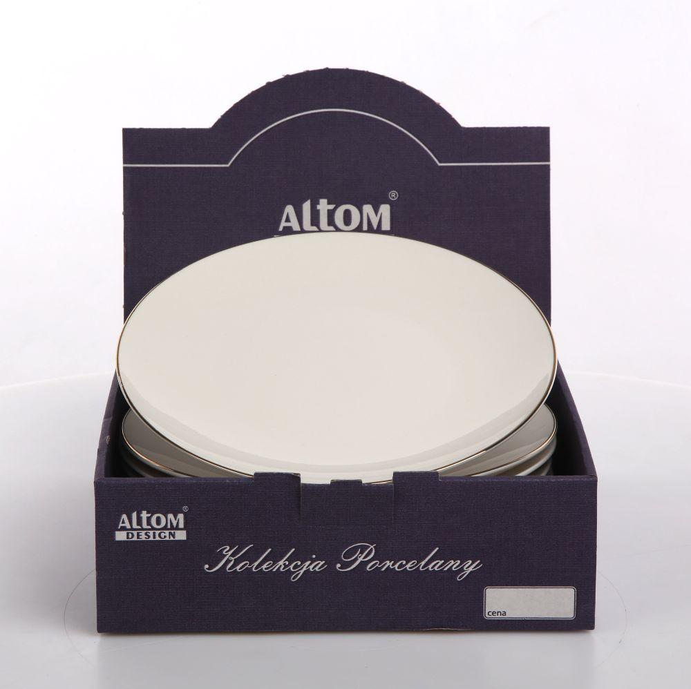 Talerz deserowy porcelanowy Altom Design Bella Złota Linia Kremowa 20 cm Kartonik
