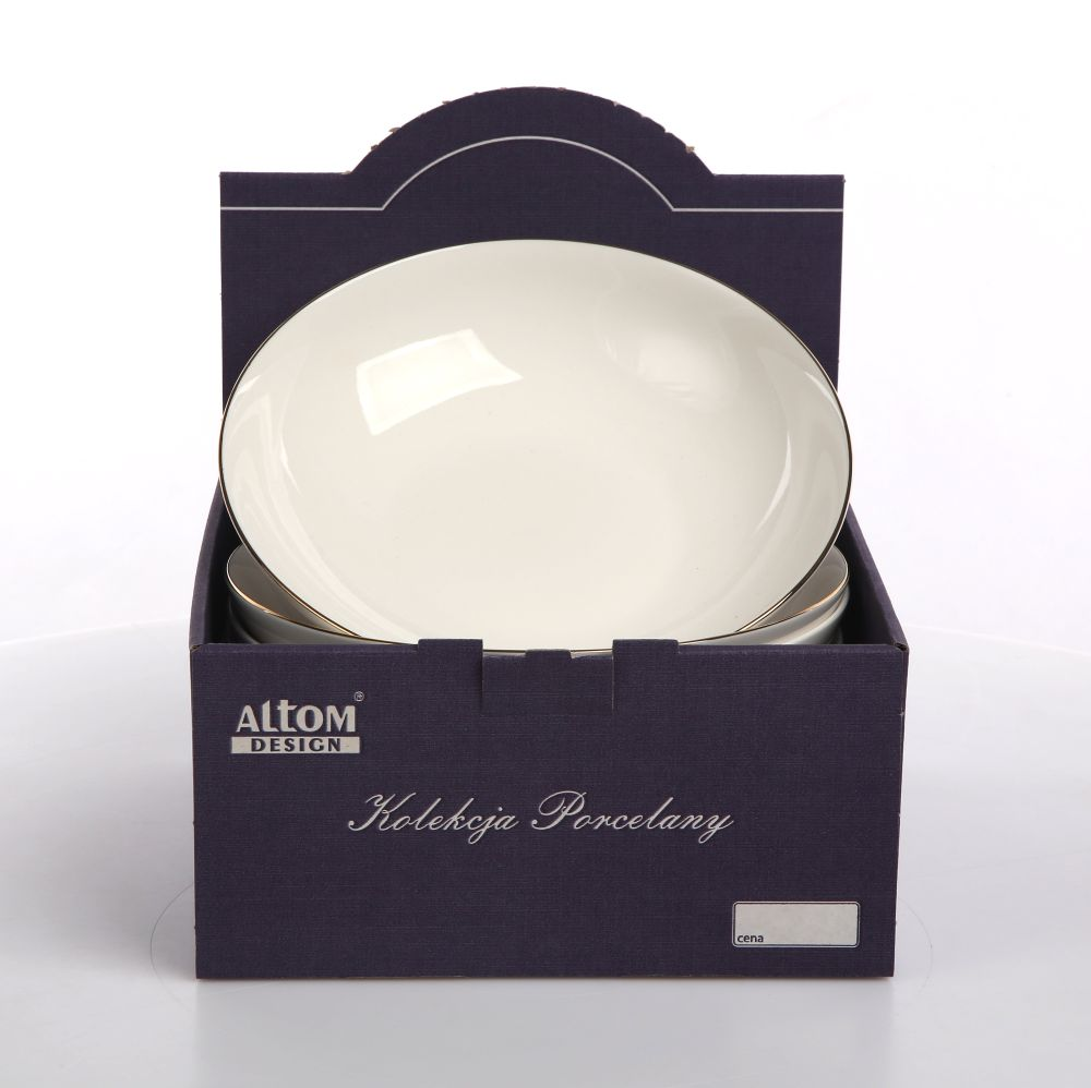 Talerz do zupy głęboki Altom Design Bella Złota Linia kremowa 20 cm Kartonik