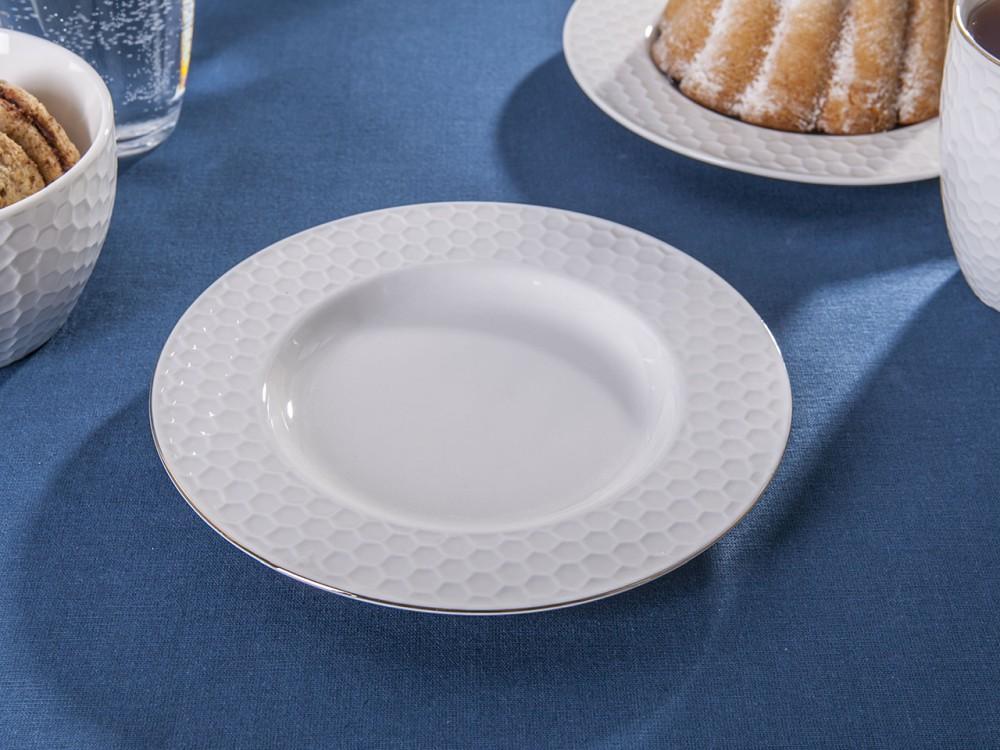 Talerz porcelanowy w plastry miodu Altom Design Honey Złota Linia 20 cm