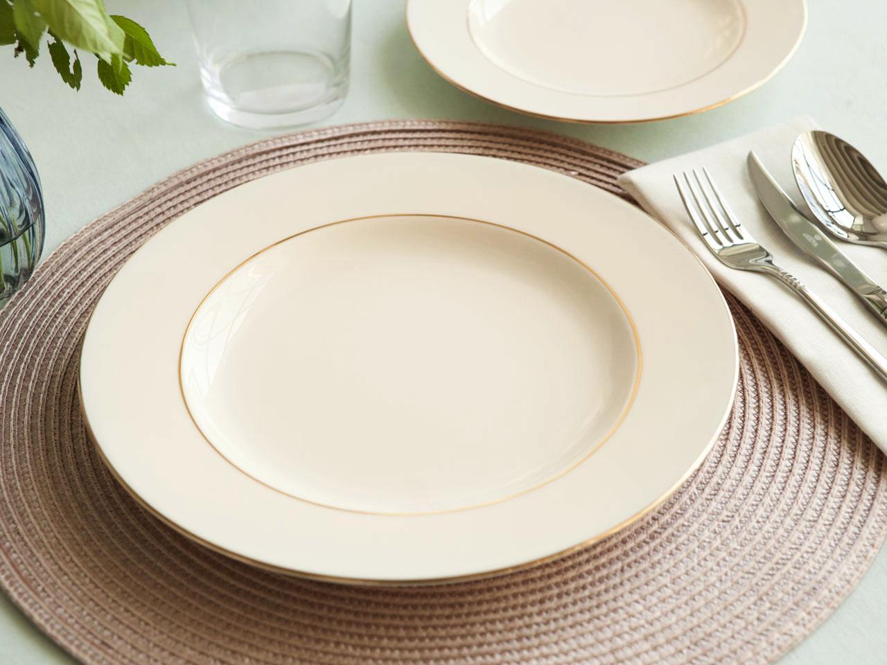 Talerz obiadowy porcelanowy MariaPaula Ecru Nova Złota Linia 26 cm