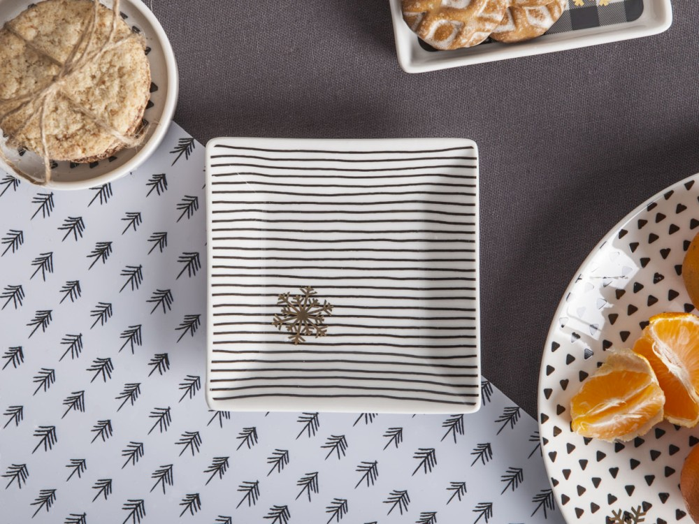 Talerzyk kwadratowy porcelanowy Altom Design Nordic Winter dek. I 11 cm