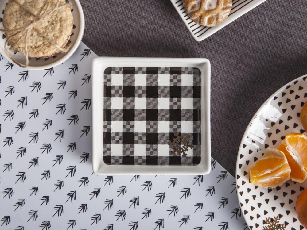 Talerzyk kwadratowy porcelanowy Altom Design Nordic Winter dek. II 11 cm
