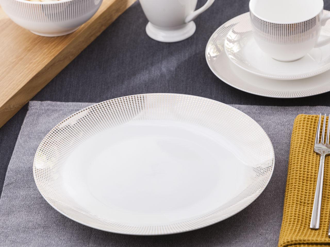 Talerz obiadowy płytki porcelanowy Altom Design Bella Złote Romby 26 cm
