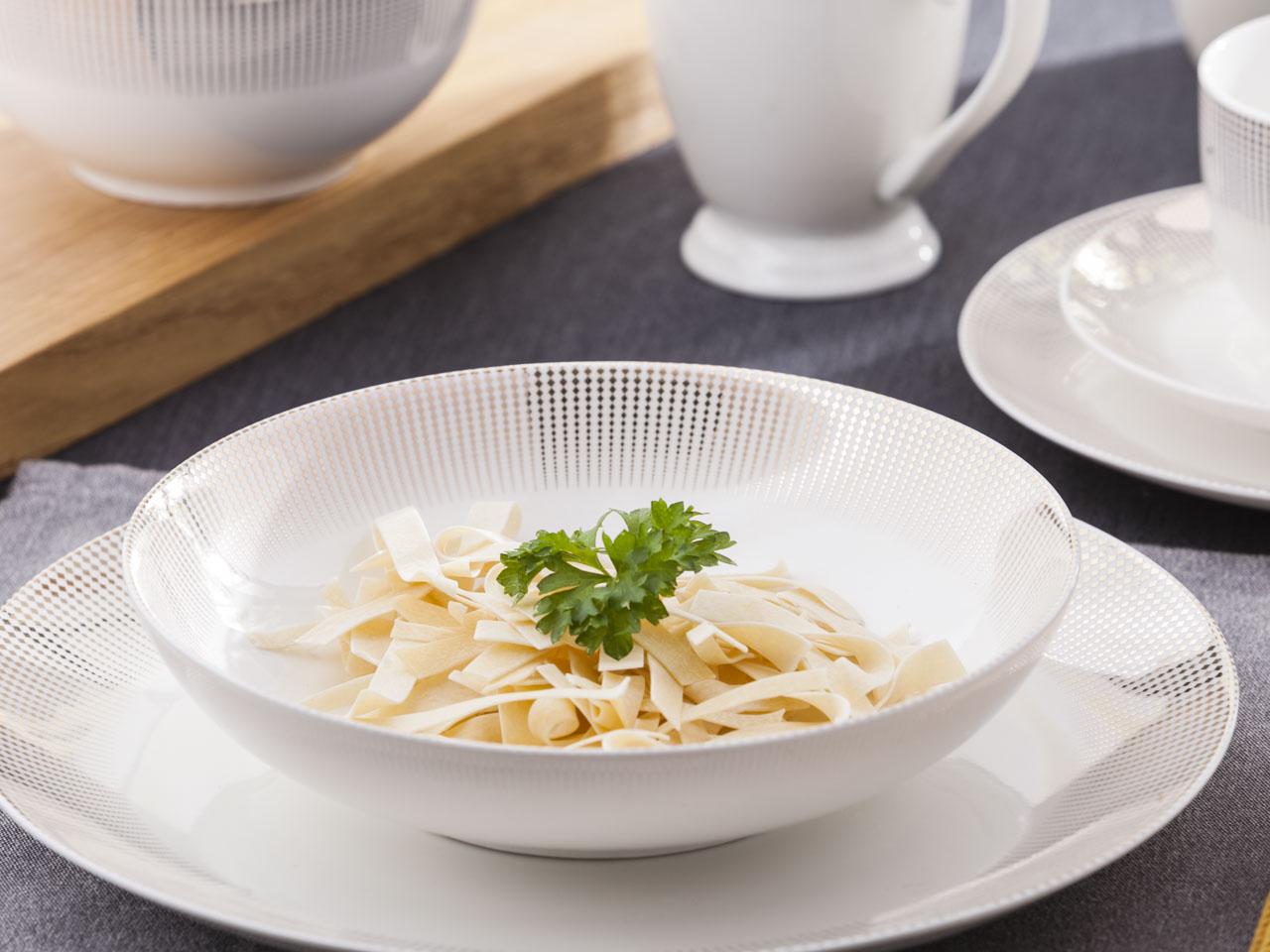 Talerz do zupy głęboki porcelanowy Altom Design Bella Złote Romby 20 cm