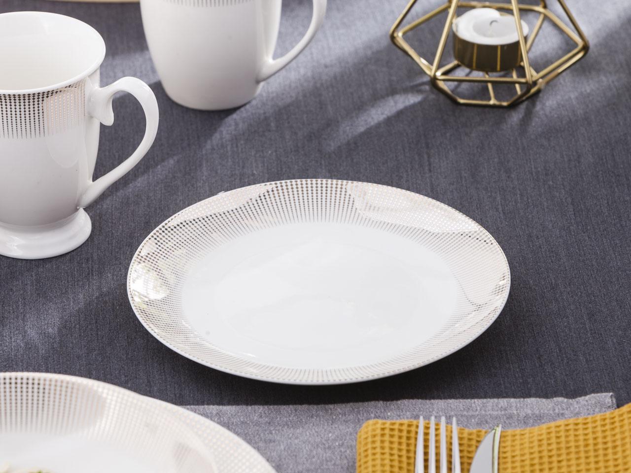 Talerz deserowy porcelanowy Altom Design Bella Złote Romby 20 cm