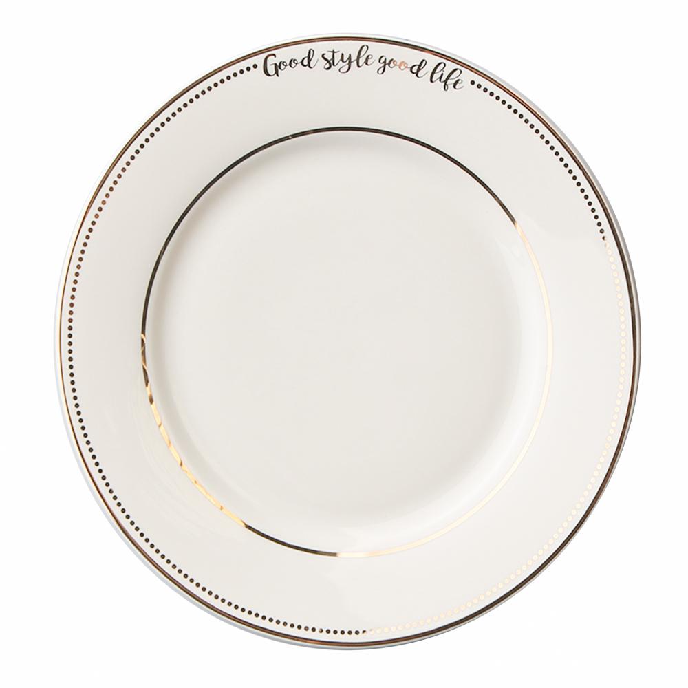 Talerz deserowy porcelanowy Altom Design Good Life 19 cm biały