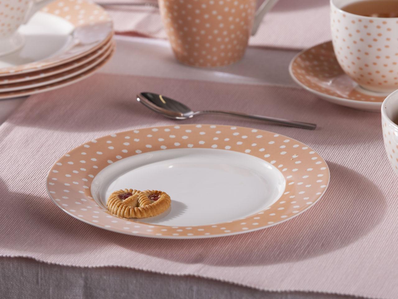Talerz deserowy porcelanowy Altom Design Łososiowe Kropki 20 cm