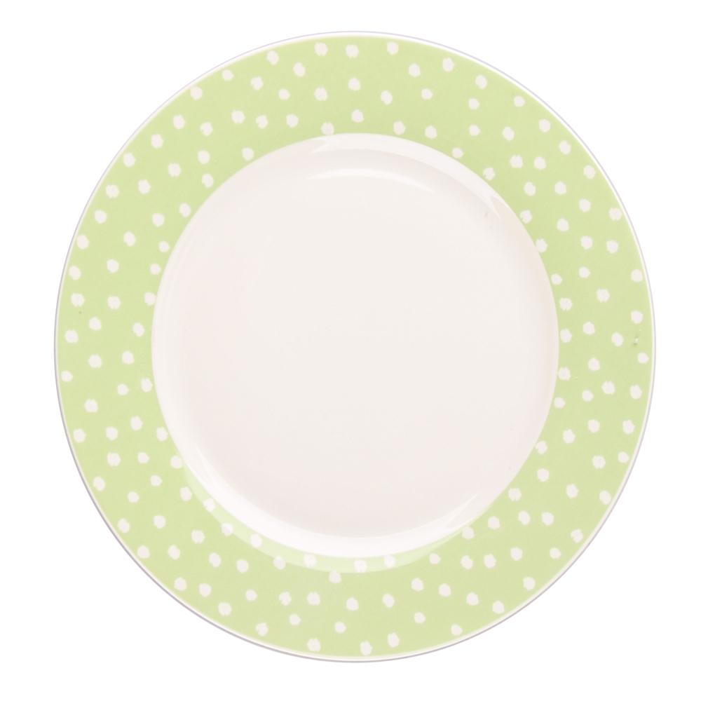 Talerz deserowy porcelanowy Altom Design Seledynowe Kropki 20 cm
