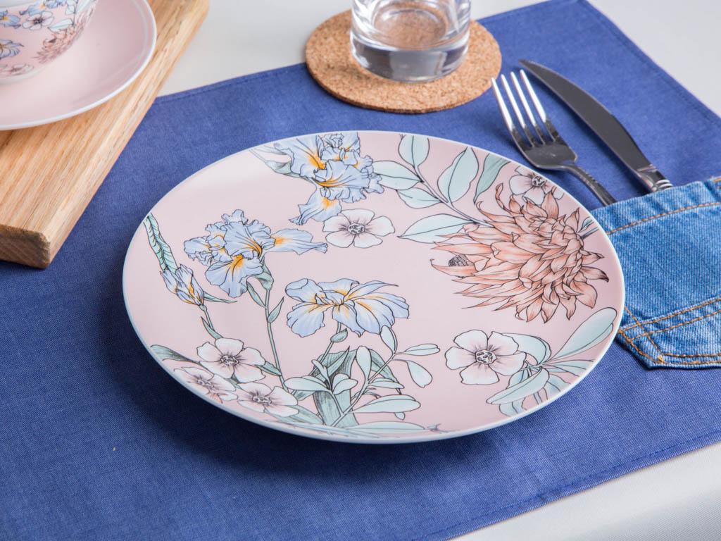 Talerz deserowy porcelanowy Altom Design Flower Jeans morelowy