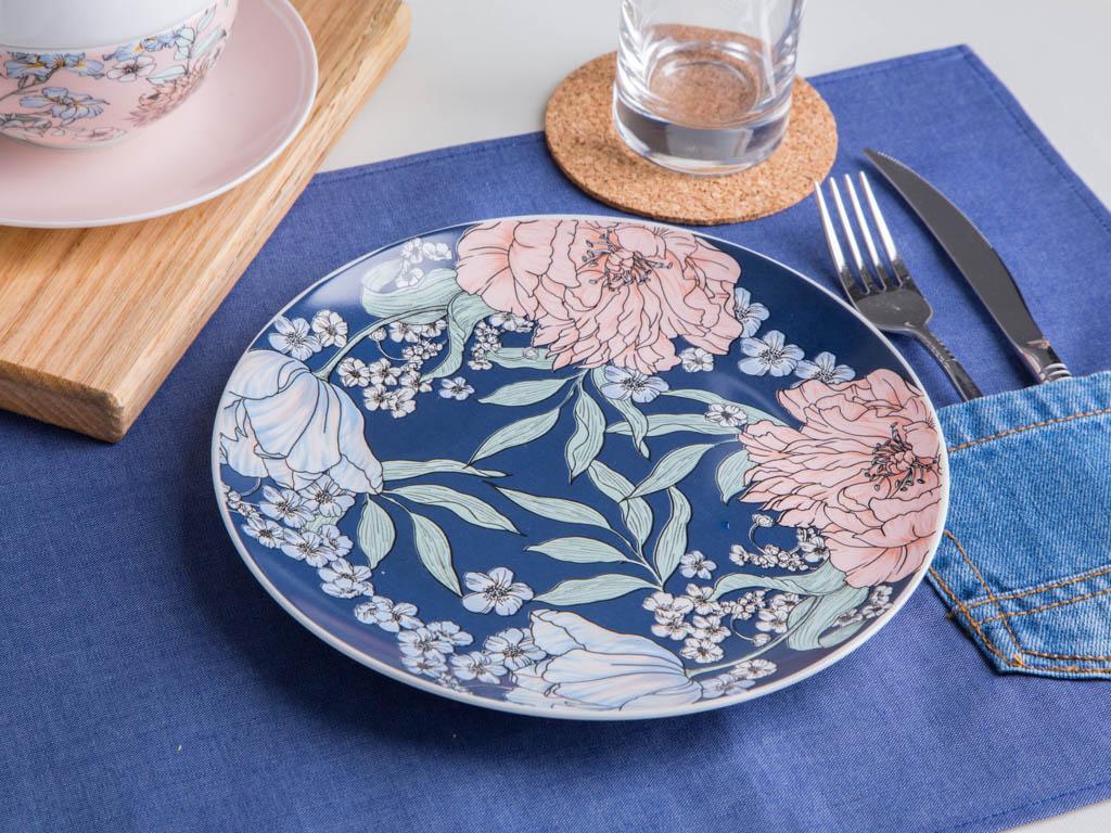 Talerz deserowy porcelanowy Altom Design Flower Jeans jeansowy
