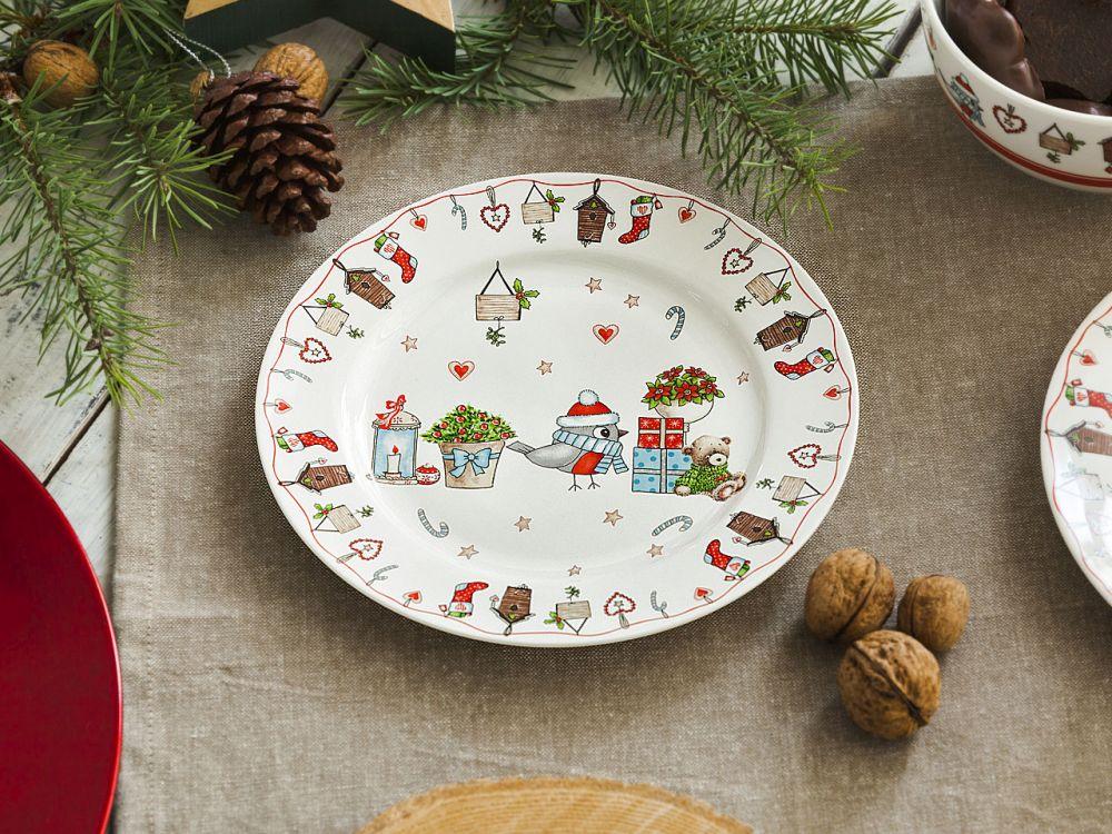 Talerz deserowy porcelanowy święta Boże Narodzenie Altom Design Holly 19 cm