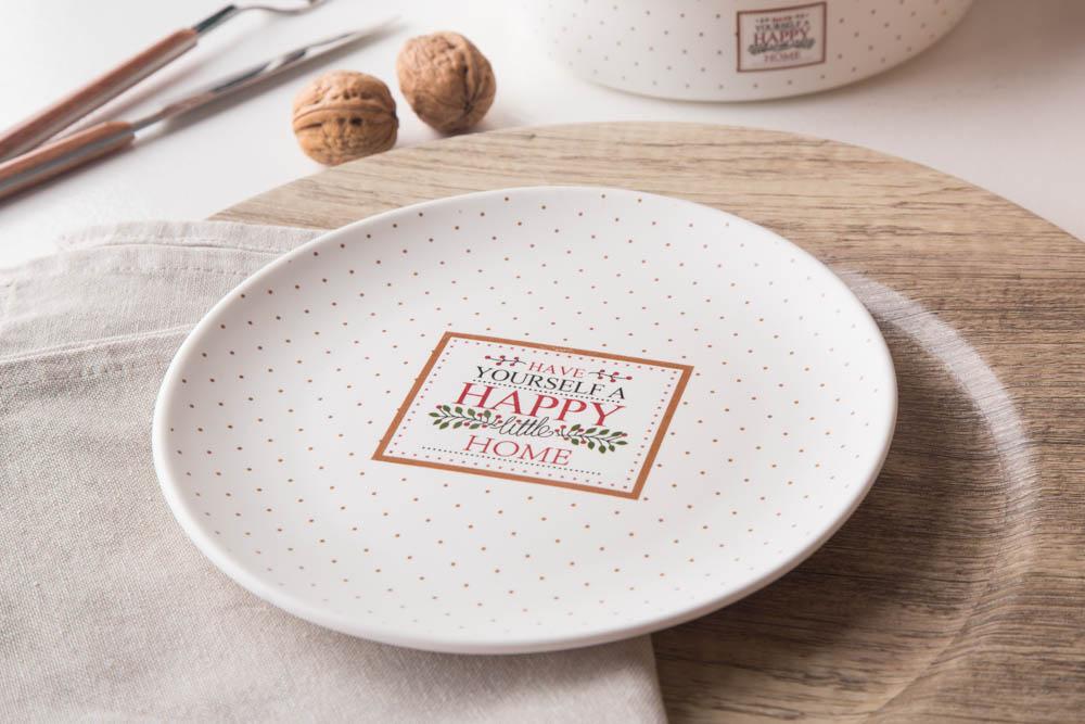 Talerz deserowy porcelana Altom Design Happy Home 19 cm, kremowy w kropki