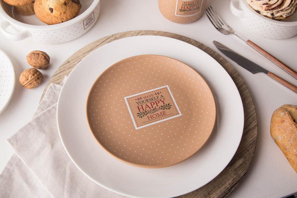 Talerz deserowy porcelana Altom Design Happy Home 19 cm, beżowy w kropki