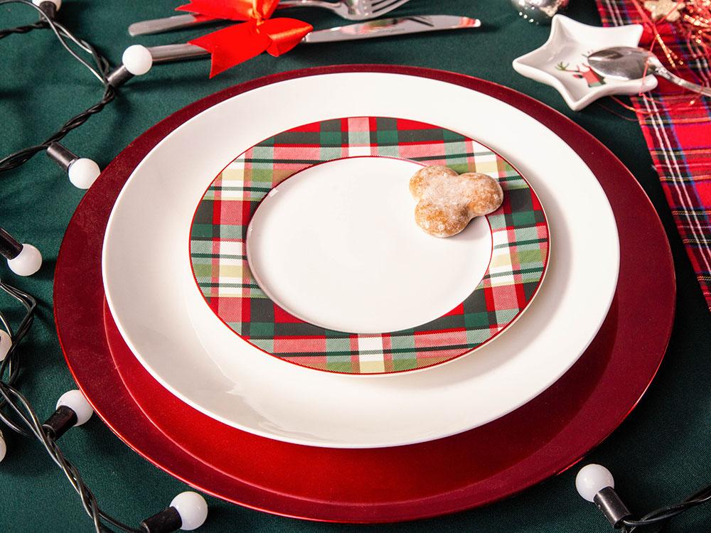 Talerz deserowy porcelanowy święta Boże Narodzenie Altom Design Victoria Red, dekoracja Kratka 19 cm