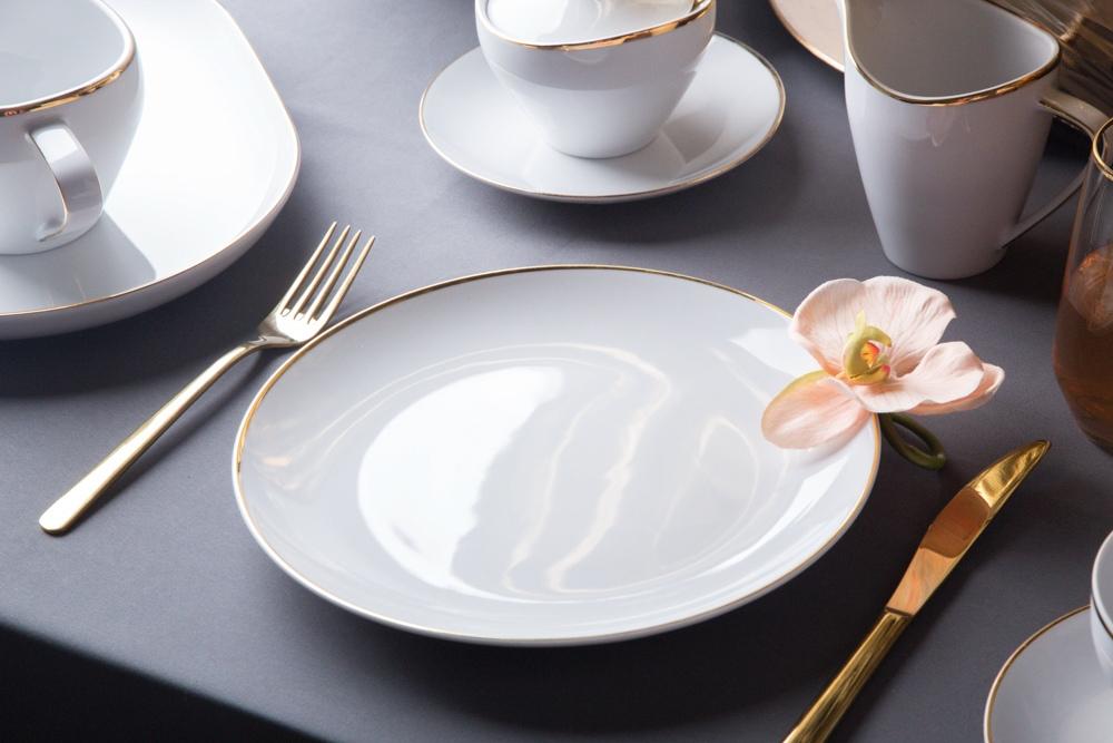 Talerz płytki / obiadowy porcelana MariaPaula Moderna Gold 24 cm okrągły ze złotym zdobieniem