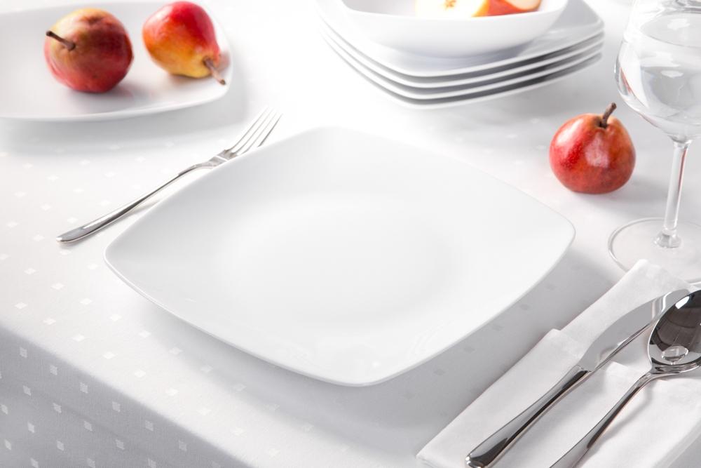 Talerz płytki / obiadowy porcelana MariaPaula Moderna Biała 25 cm kwadratowy