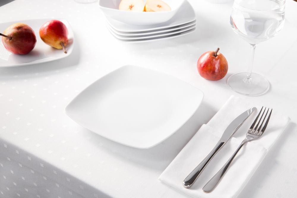 Talerz deserowy porcelana MariaPaula Moderna Biała 20,5 cm kwadratowy