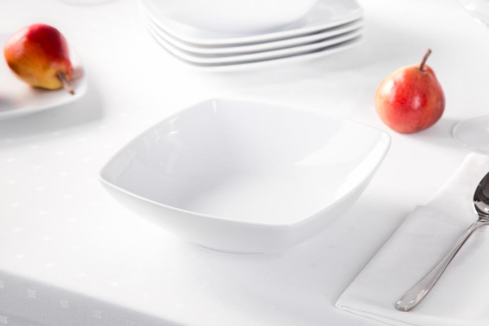 Talerz głęboki do zupy porcelana MariaPaula Moderna Biała 20,5 cm kwadratowy