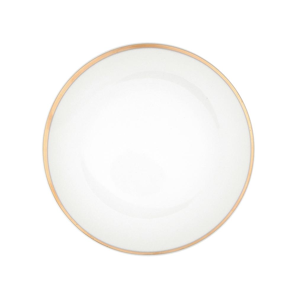 Talerz deserowy porcelana MariaPaula Moderna Gold 20,5 cm okrągły ze złotym zdobieniem