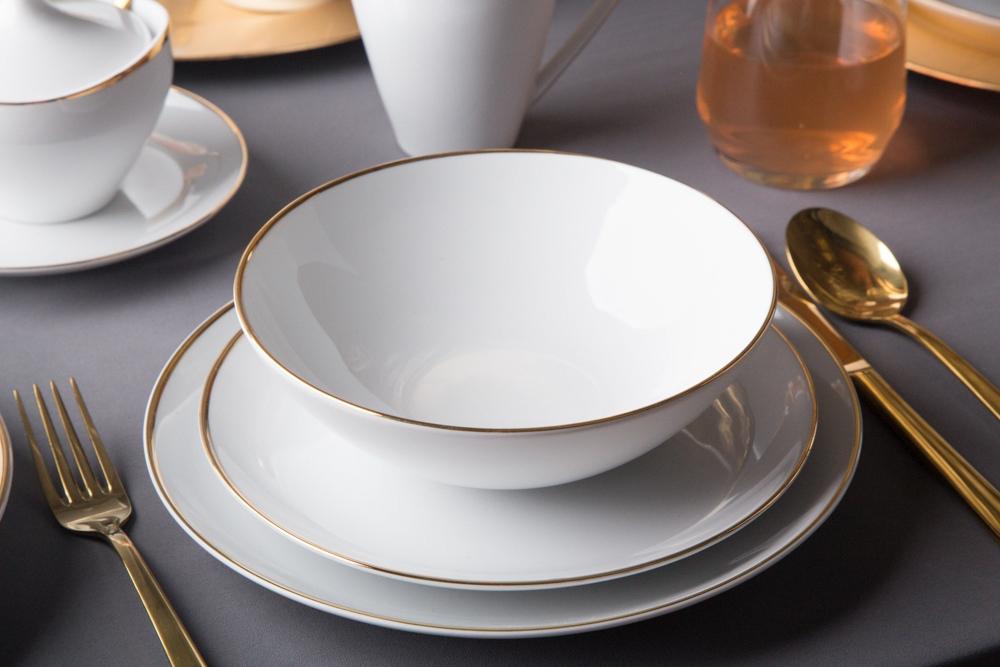 Talerz głęboki do zupy porcelana MariaPaula Moderna Gold 18 cm okrągły ze złotym zdobieniem