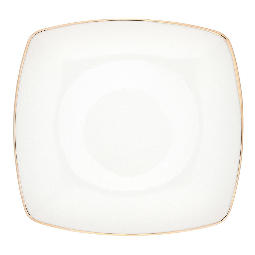 Talerz płytki / obiadowy porcelana MariaPaula Moderna Gold 25 cm kwadratowy ze złotym zdobieniem