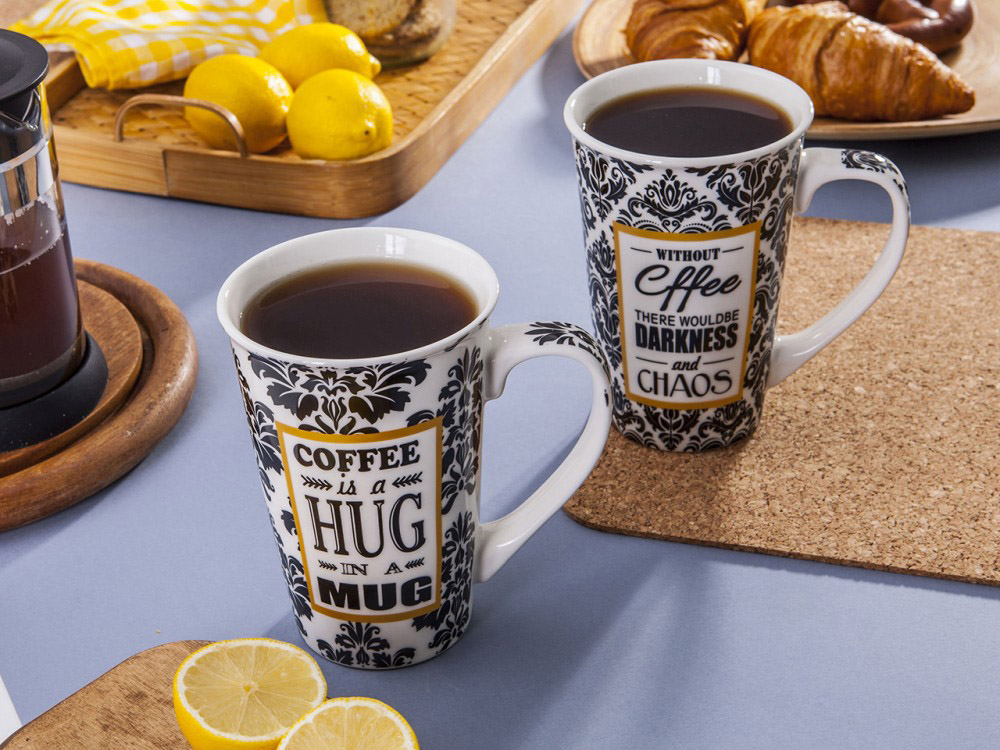 Kubek porcelanowy duży Altom Design Yellow Coffee 600 ml (2 wzory)