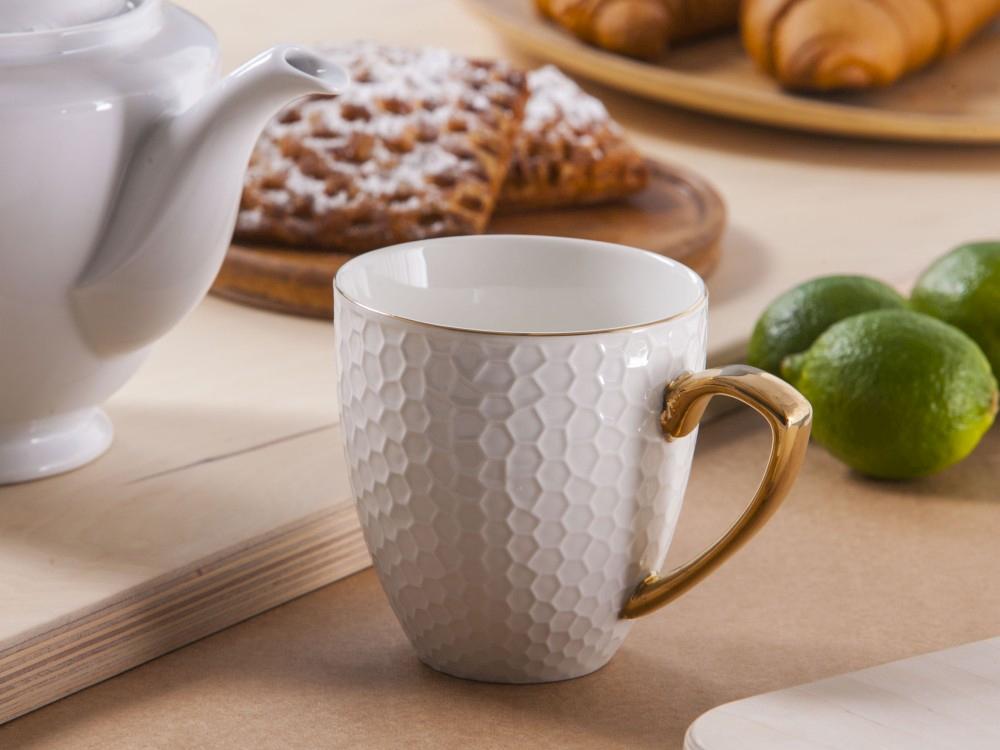 Duży kubek porcelanowy Altom Design Honey ze złotym uchem 430 ml