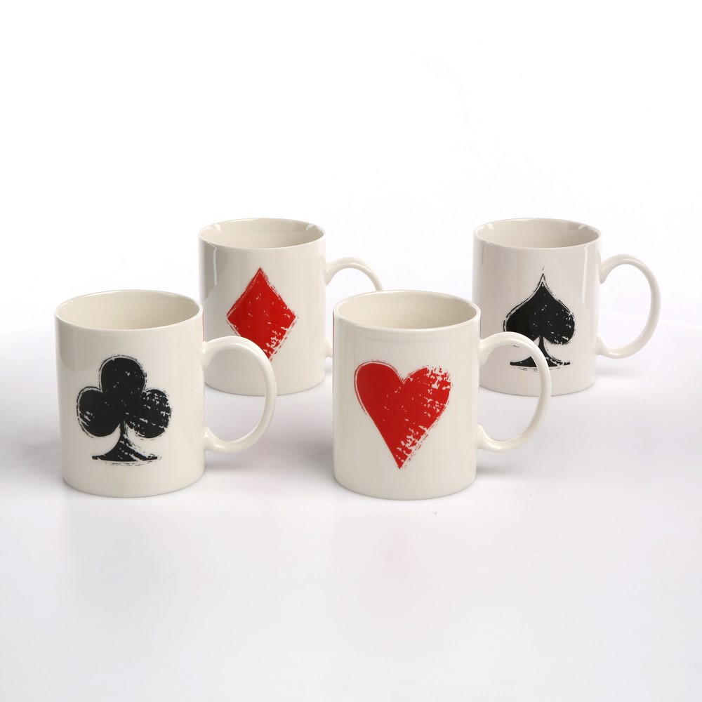 Kubek porcelanowy Altom Design Poker 300 ml (4 wzory)