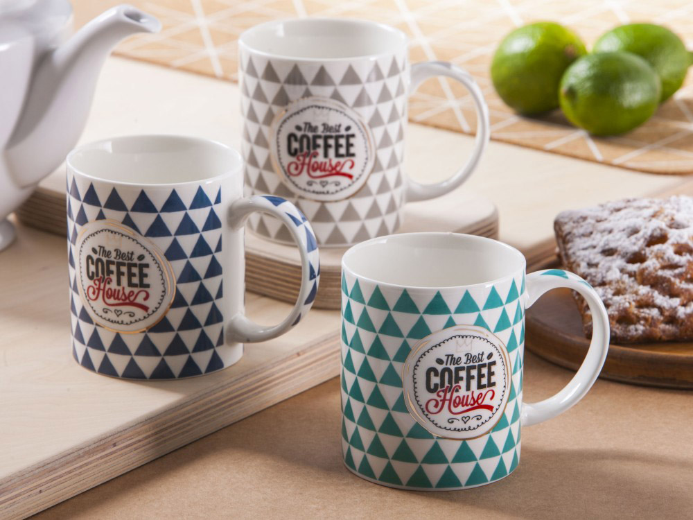 Kubek do kawy i herbaty porcelanowy Altom Design dek. Journey 300 ml (3 wzory)