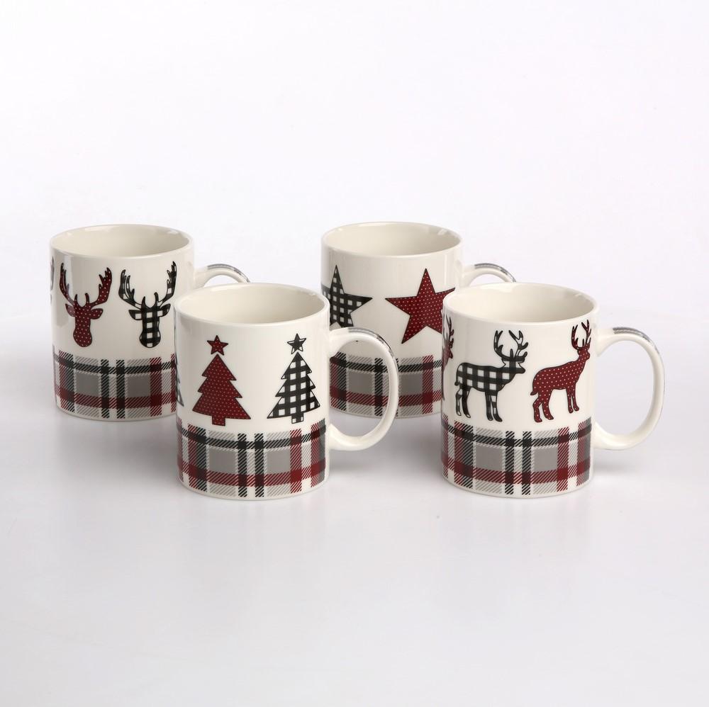 Kubek świąteczny porcelanowy Boże Narodzenie Altom Design dek. kratka 340 ml (4 wzory)