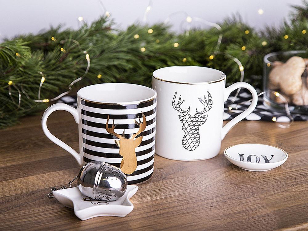 Kubek do kawy i herbaty porcelanowy z zaparzaczem święta Boże Narodzenie Altom Design Nordic Winter 380 ml (2 wzory / opakowanie prezentowe)