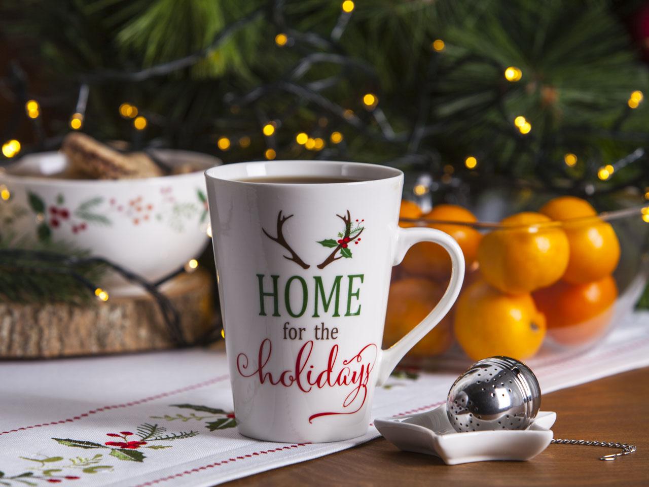 Duży kubek z zaparzaczem do herbaty z podstawką świąteczny porcelanowy Boże Narodzenie Altom Design Joy 460 ml (opakowanie prezentowe)