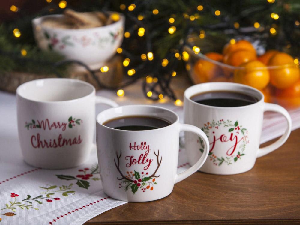 Duży kubek do kawy i herbaty świąteczny porcelanowy Boże Narodzenie Altom Design Joy 460 ml (3 wzory)
