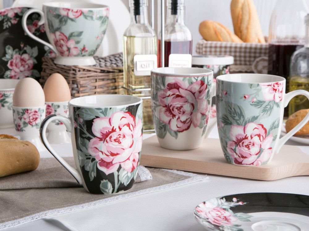 Kubek do kawy i herbaty porcelanowy Altom Design Róża Paryska 320 ml dek. I