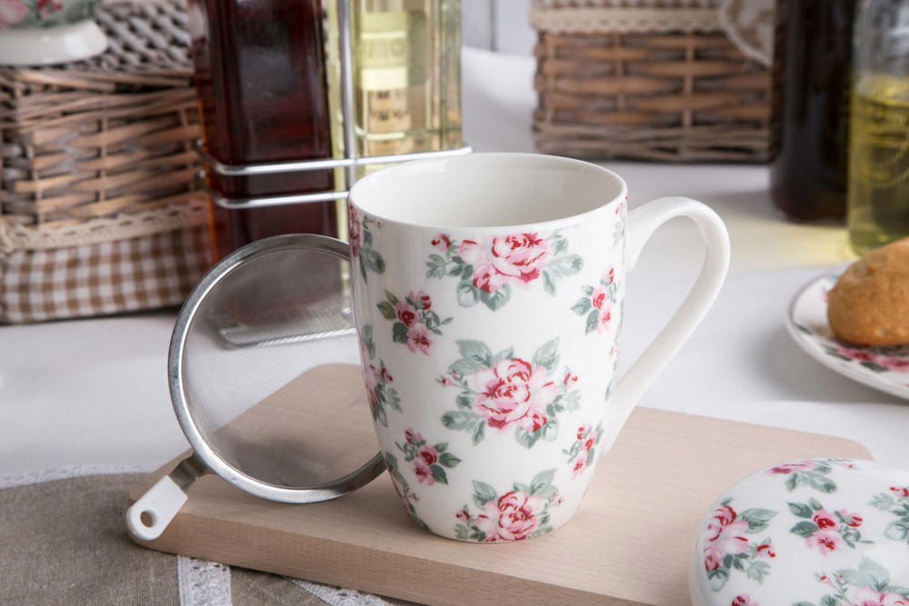 Kubek z zaparzaczem do herbaty i ziół porcelanowy Altom Design Róża Paryska 320 ml dek. I