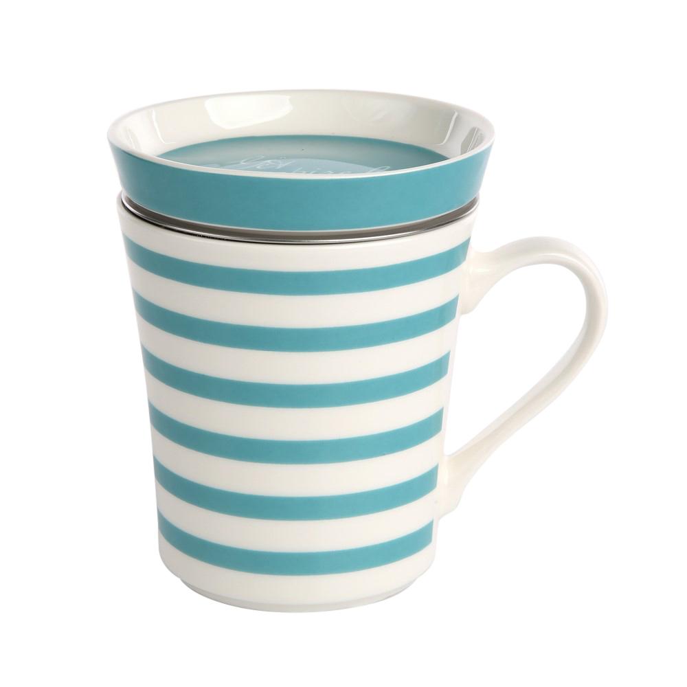 Kubek z zaparzaczem do herbaty i ziół porcelanowy / sitko stalowe Altom Design Melania turkus 300 ml