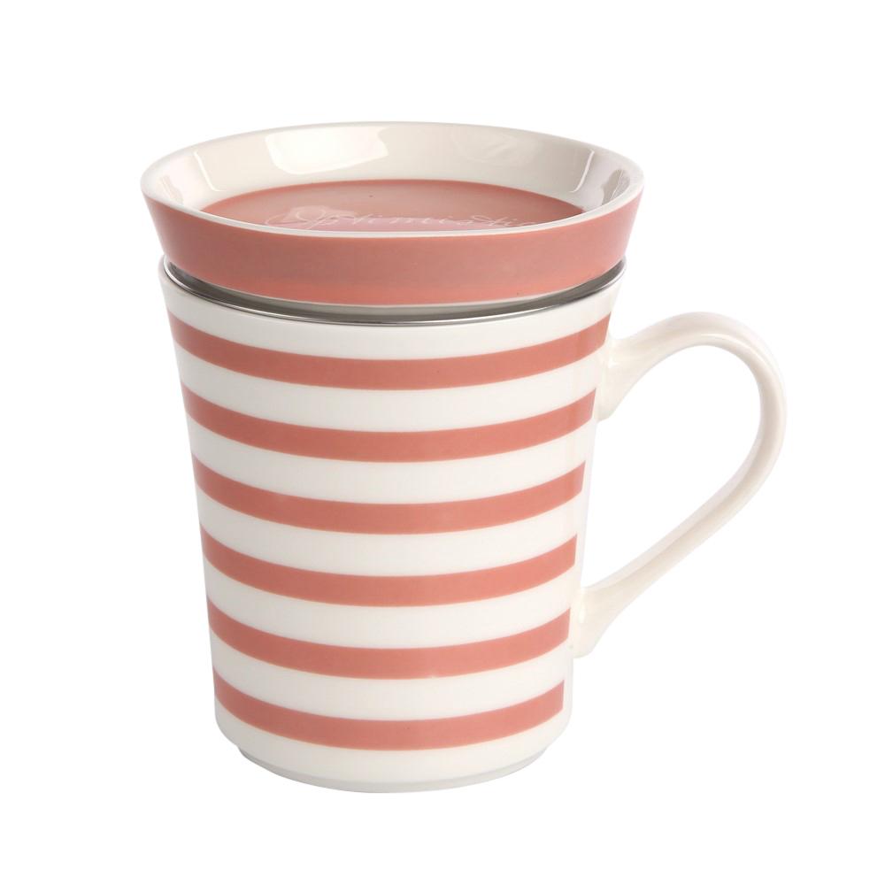 Kubek z zaparzaczem do herbaty i ziół porcelanowy / sitko stalowe Altom Design Melania koral 300 ml