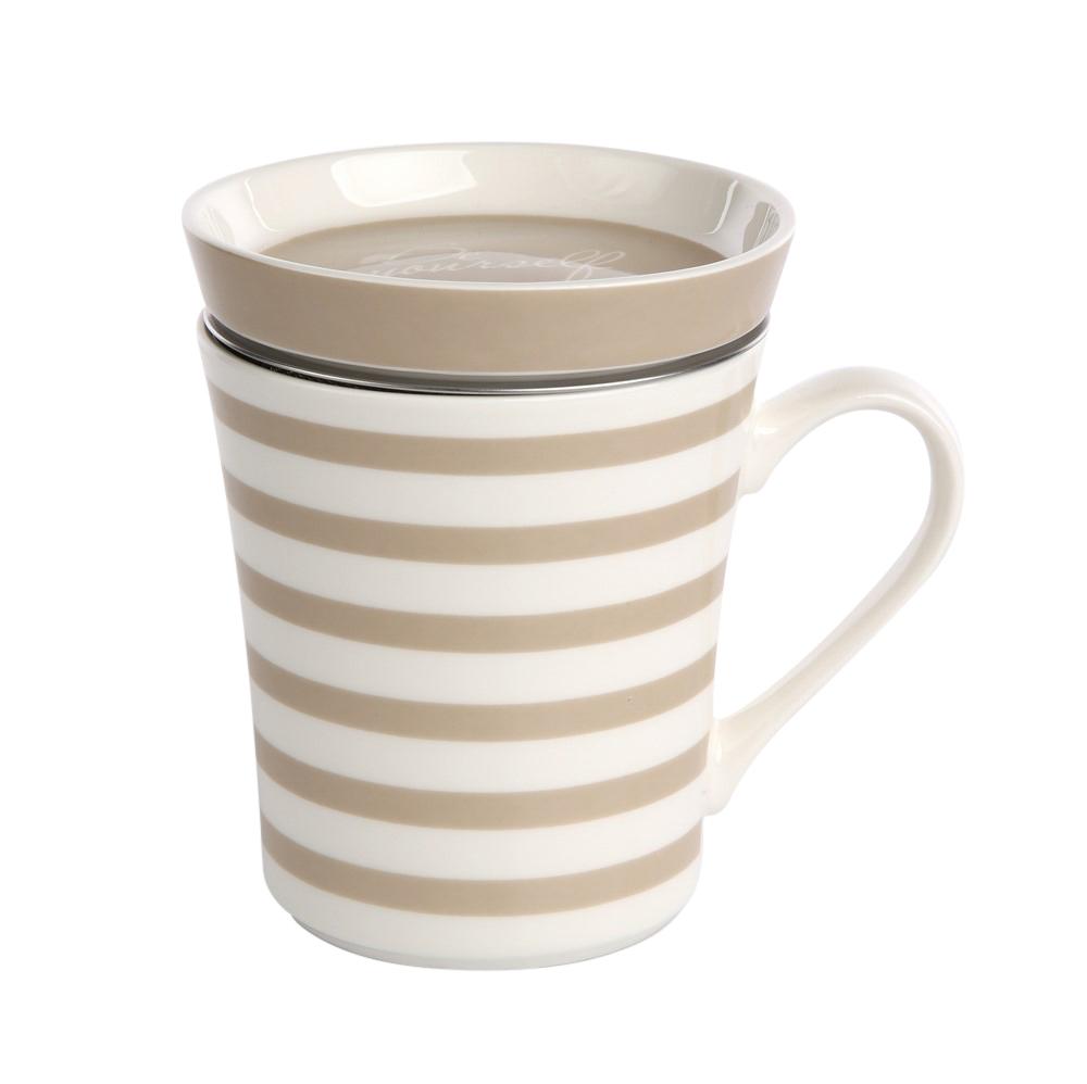 Kubek z zaparzaczem do herbaty i ziół porcelanowy / sitko stalowe Altom Design Melania taupel 300 ml