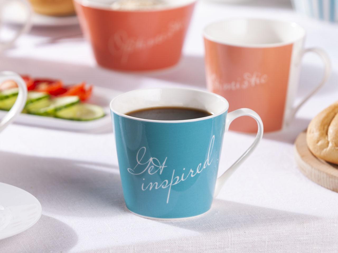 Kubek do kawy i herbaty porcelanowy Altom Design Melania turkus 360 ml (2 wzory)