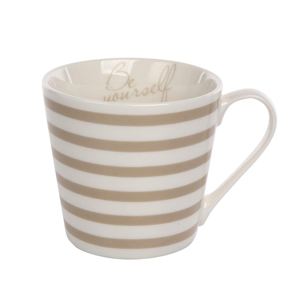 Kubek do kawy i herbaty porcelanowy Altom Design Melania taupe 360 ml