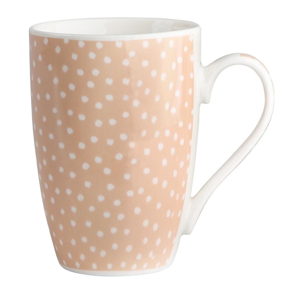 Kubek do kawy i herbaty porcelanowy Altom Design Łososiowe Kropki 320 ml dek. I