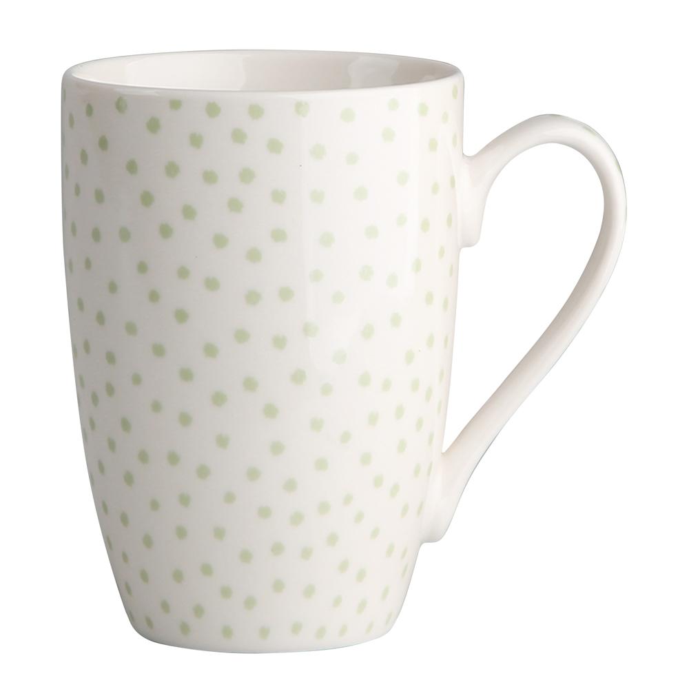 Kubek do kawy i herbaty porcelanowy Altom Design Seledynowe Kropki 320 ml dek. I