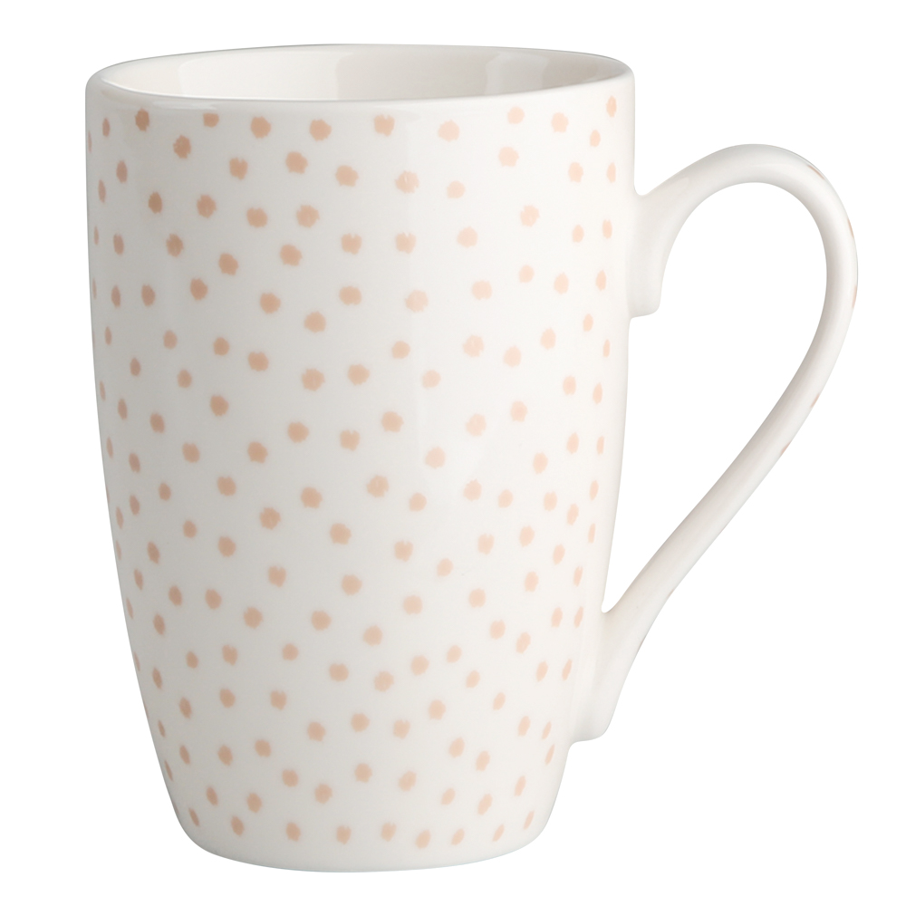 Kubek do kawy i herbaty porcelanowy Altom Design Łososiowe Kropki 320 ml dek. II