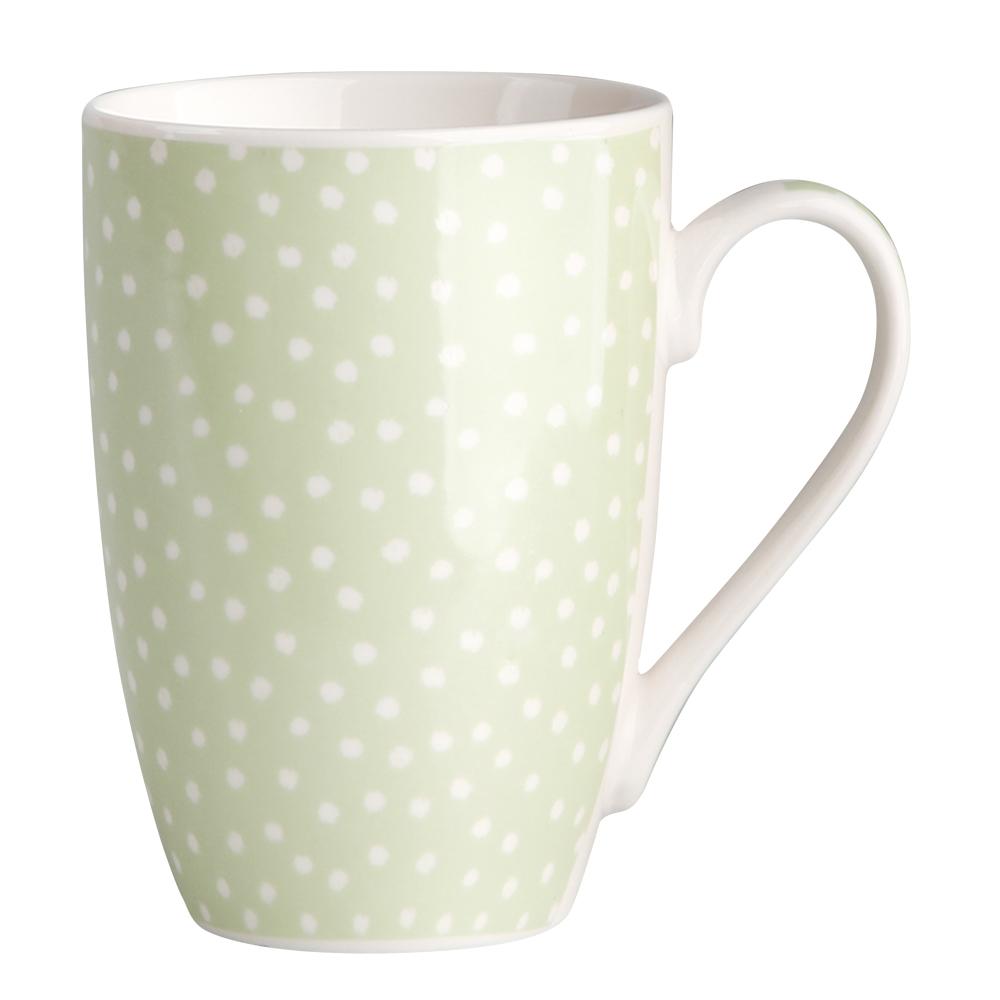 Kubek do kawy i herbaty porcelanowy Altom Design Seledynowe Kropki 320 ml dek. II
