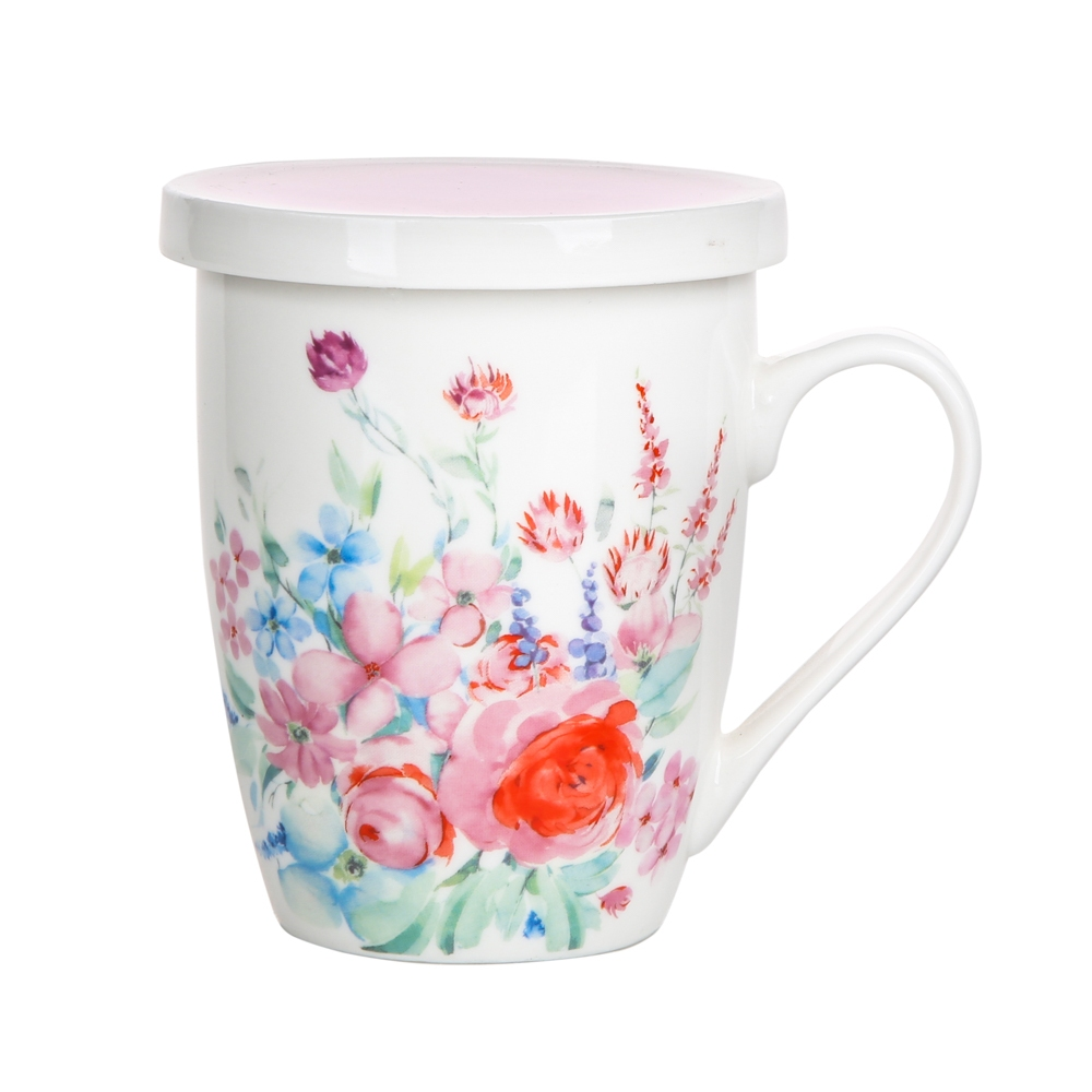 Kubek z zaparzaczem do herbaty i ziół porcelanowy Altom Design Pastelowy Kwiat 300 ml