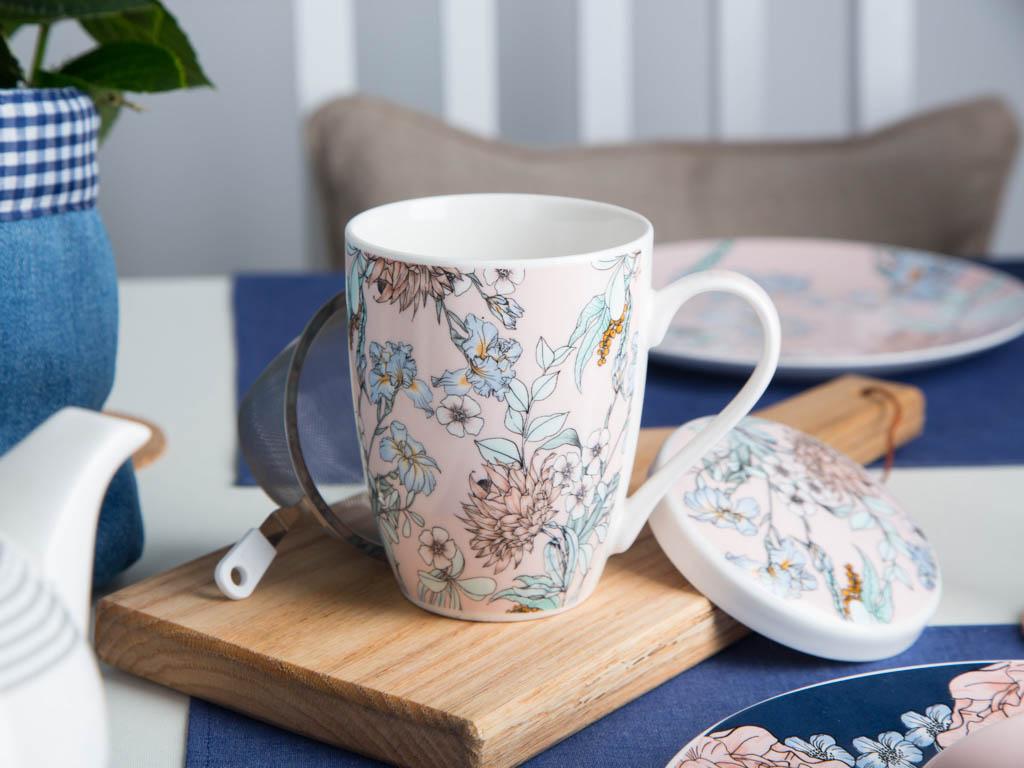 Kubek z zaparzaczem do herbaty Altom Design Flower Jeans morelowy