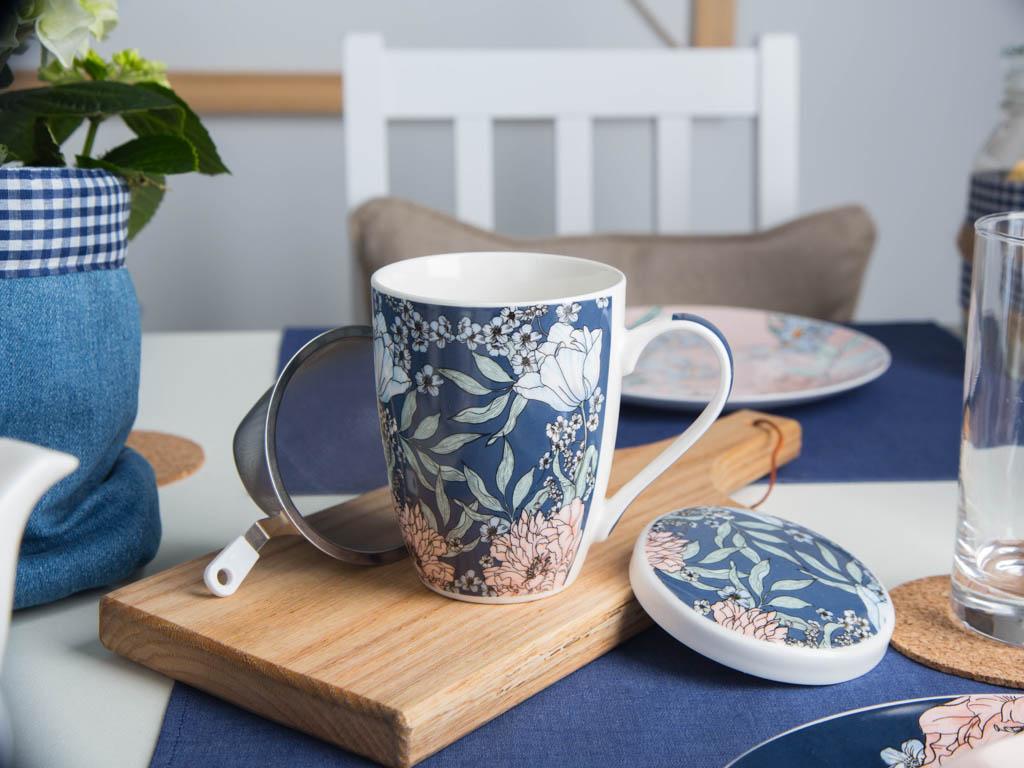 Kubek z zaparzaczem do herbaty Altom Design Flower Jeans jeansowy