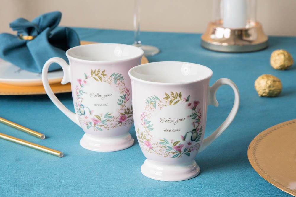 Kubki do kawy i herbaty na stopce porcelanowe Altom Design Dream 250 ml (2 kubki / opakowanie prezentowe)